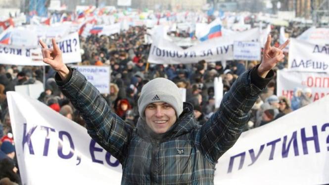 Demo massa anti Putin di Moskow, Rusia