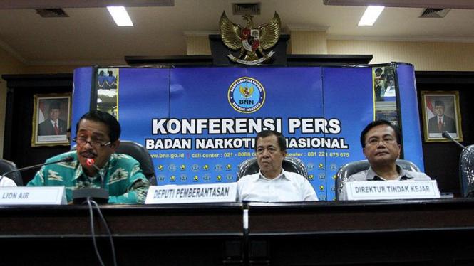 Jumpa Pers Kasus Narkoba Pilot Lion Air di BNN