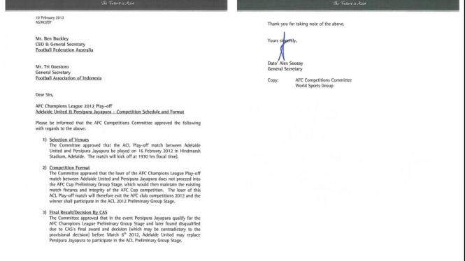 Surat AFC kepada PSSI terkait jadwal Persipura