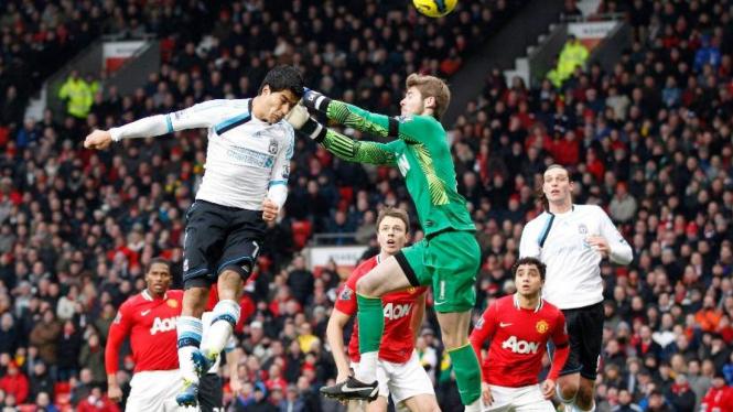 David de Gea (hijau) saat Manchester United melawan Liverpool