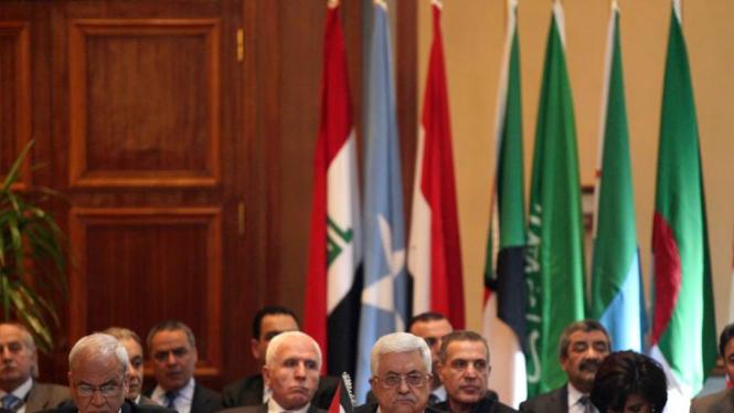 Presiden Palestina Mahmoud Abbas dalam pertemuan Liga Arab di Kairo, Mesir