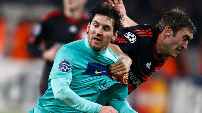 Pemain Barcelona Lionel Messia Saat Berhadapan Dengan Leverkusen