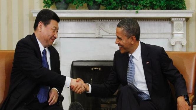 Presiden AS Barack Obama dan Wapres Xi Jinping dari China