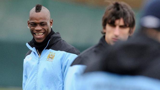 Mario Balotelli saat latihan Manchester City