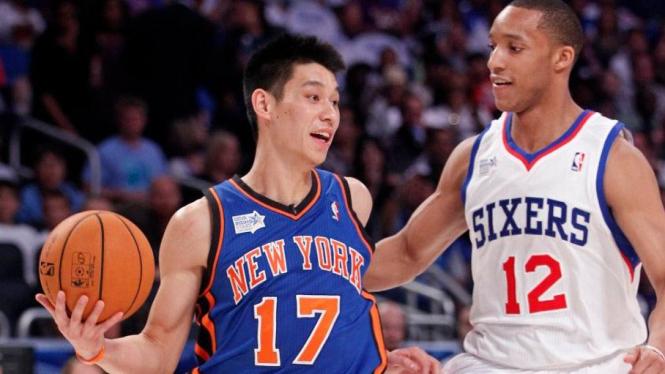 Jeremy Lin (New York Knicks/kiri) di Rising Star Challenge NBA All-Star 2012
