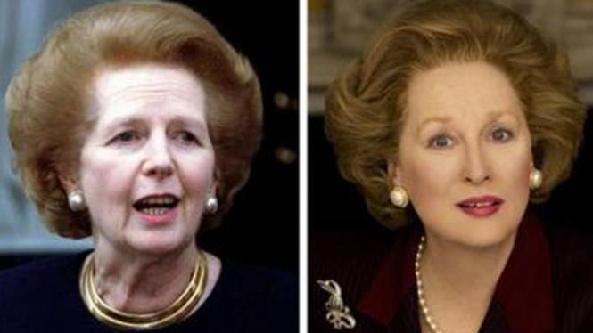 Perbandingan foto Margaret Thatcher dan Meryl Streep