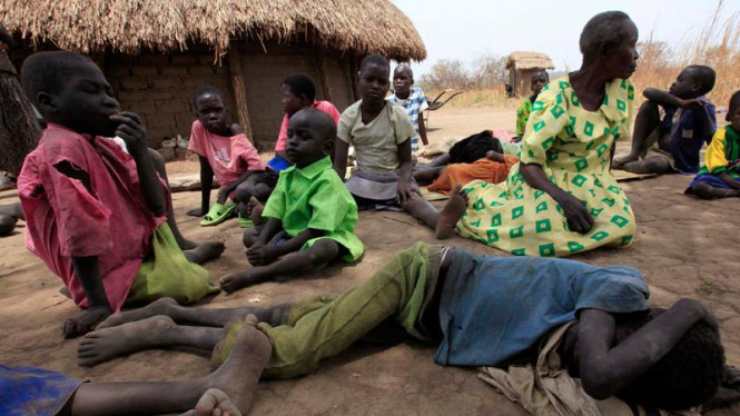 Bocah-bocah yang terkena penyakit Nodding di Uganda