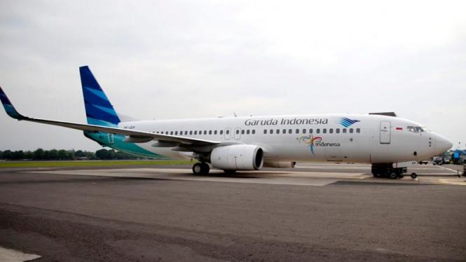 Pesawat Garuda Indonesia di Bandara Adisutjipto