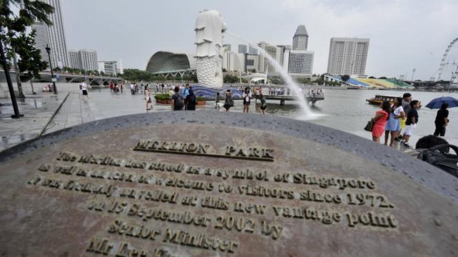 Merlion Park, landmark Singapura.