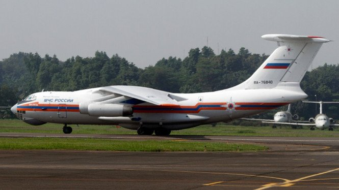 Pesawat Ilyushin Il-76 milik Rusia mendarat di Bandara Halim Perdanakusuma