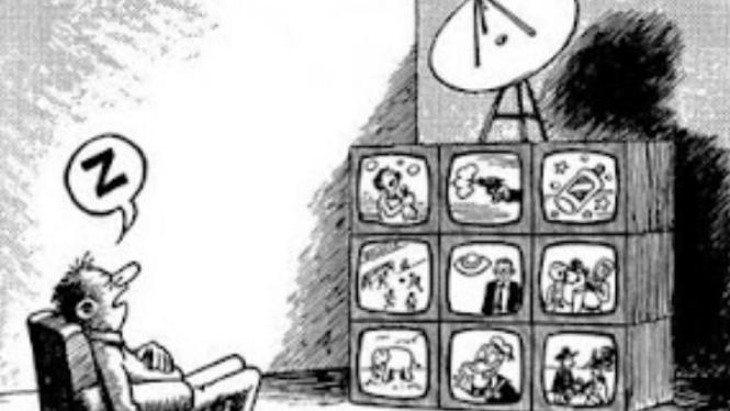Ilustrasi orang menonton televisi