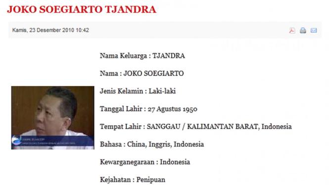 Identitas Joko Tjandra di situs Interpol