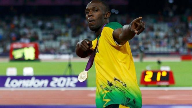 Sprinter Jamaika, Usain Bolt, usai menjuarai 200 meter
