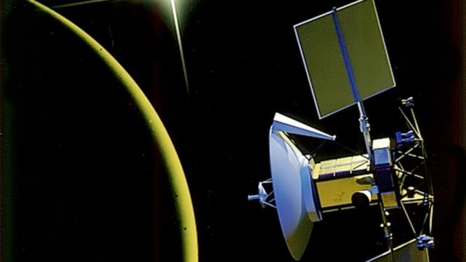 Model satelit Magellan mengorbit di Planet Venus