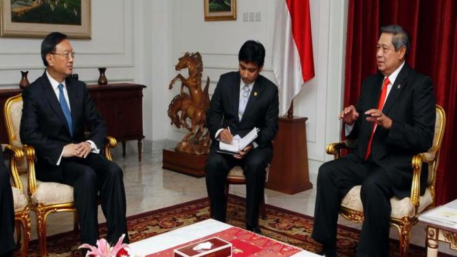 Presiden Yudhoyono menerima kunjungan Menlu China