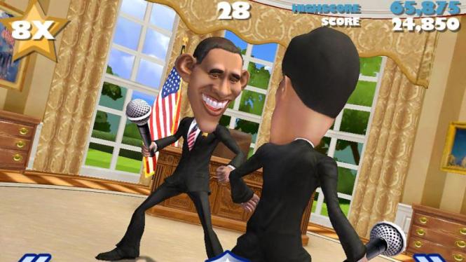 Obama dan Romney bertarung dalam game