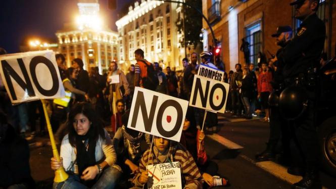 Demonstrasi warga Spanyol di Ibukota Madrid