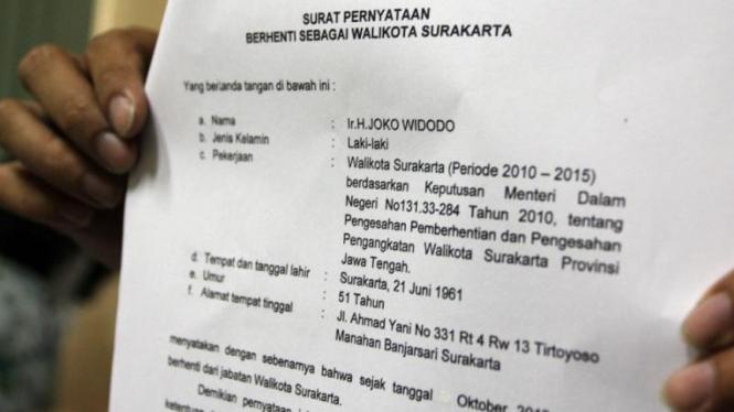 Surat pengunduran diri Jokowi sebagai Wali Kota Solo