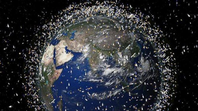 Ilustrasi Bumi dikelilingi sampah angkasa