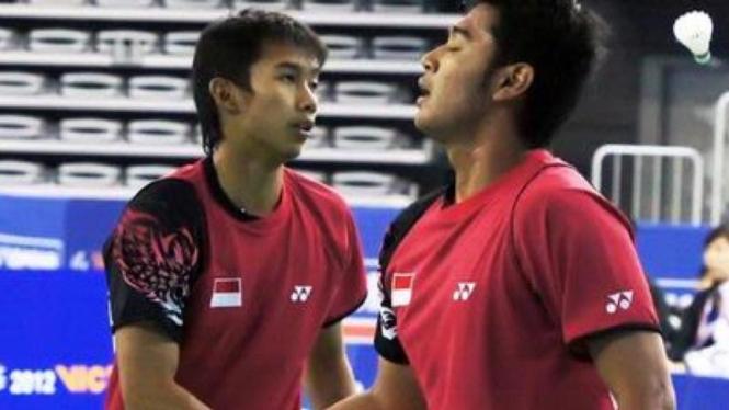 Pasangan ganda putra Indonesia, Angga Pratama dan Ryan Agung Saputra