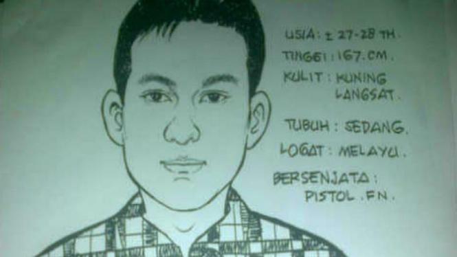 Sketsa pelaku penembakan di Cidodol