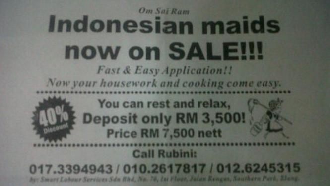 """Iklan """"TKI On Sale"""" di Malaysia"""
