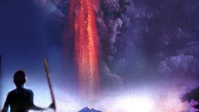 Ilustrasi letusan Gunung Toba di Sumatera Utara.