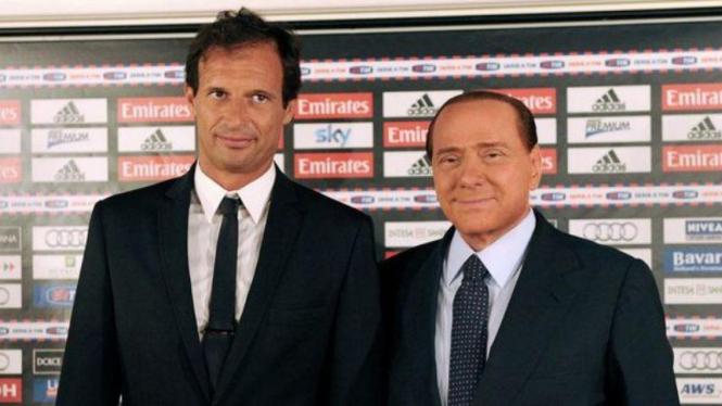 Pelatih AC Milan, Massimiliano Allegri dan Silvio Berlusconi