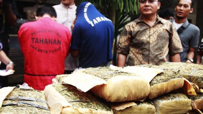 Pemusnahan Narkoba dan Ganja di Polres Jakarta Pusat