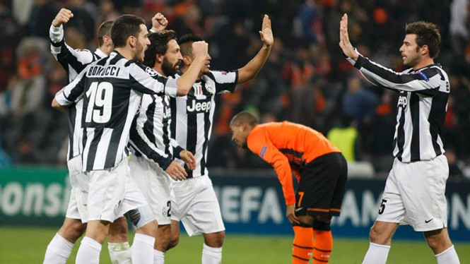 Pemain Juventus merayakan kemenangan atas Shakhtar Donetsk