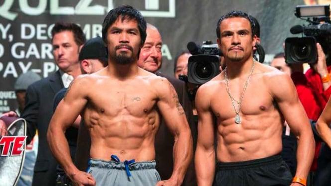 Manny Pacquiao (kiri) vs Juan Manuel Marquez