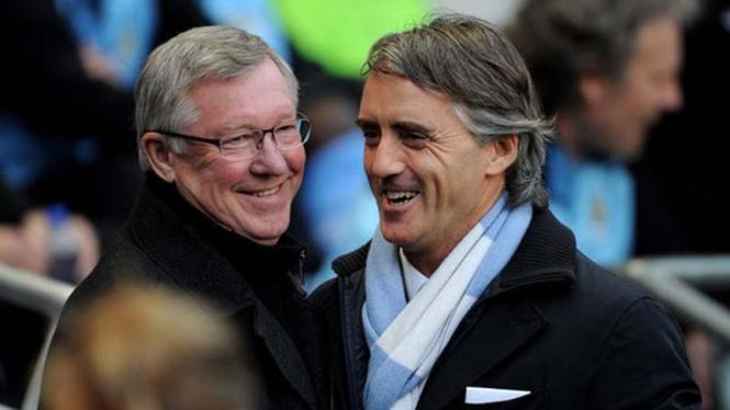 Sir Alex Ferguson dan Roberto Mancini