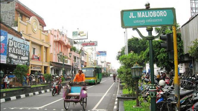 Suasana Jalan Malioboro Yogyakarta.