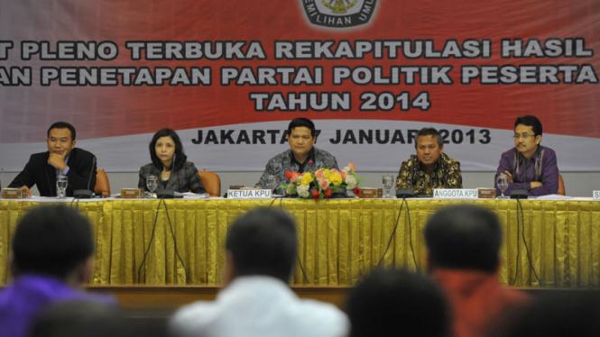 Rekapitulasi Verifikasi Parpol Peserta Pemilu 2014