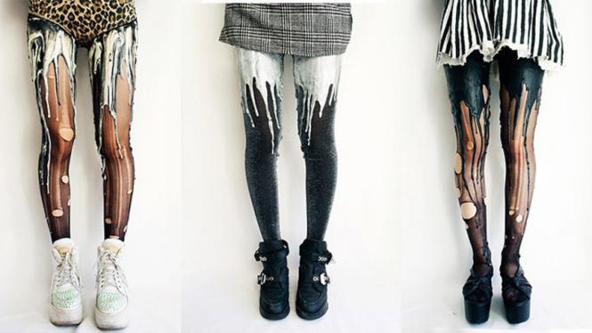 Legging melting URB hitam putih