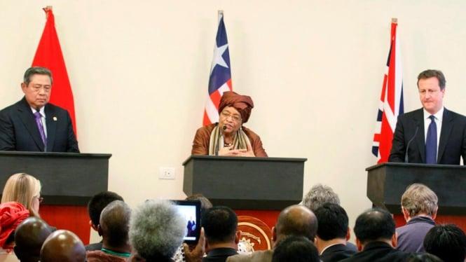 Jumpa pers Presiden RI, Presiden Liberia, dan PM Inggris