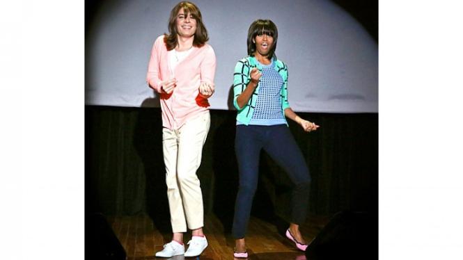 Jimmy Fallon dan Michelle Obama menari.