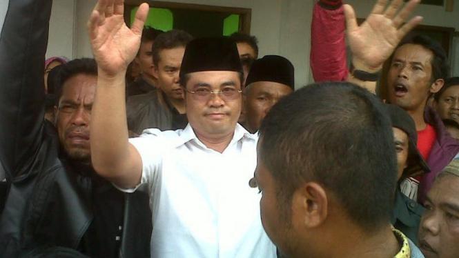 Aceng Fikri disambut warga Garut, Jawa Barat