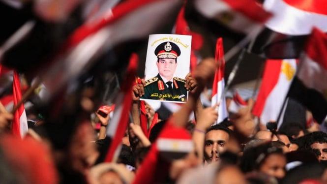 Demonstran di Kairo Mesir mendukung Jenderal Abdel Fattah al-Sisi