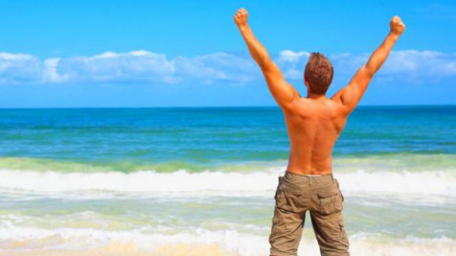 Ilustrasi pria di pantai