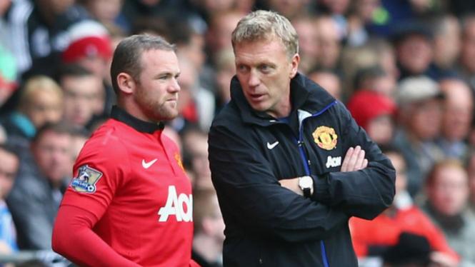 David Moyes (kanan) dan Wayne Rooney (kiri)