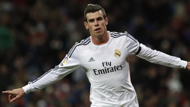 Pemain Real Madrid, Gareth Bale, usai cetak gol