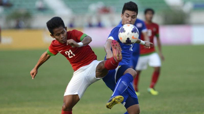Pemain Timnas Indonesia U-23 saat hadapi Thailand