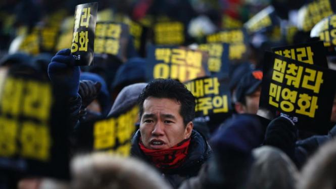 Demonstrasi di Seoul Korea Selatan