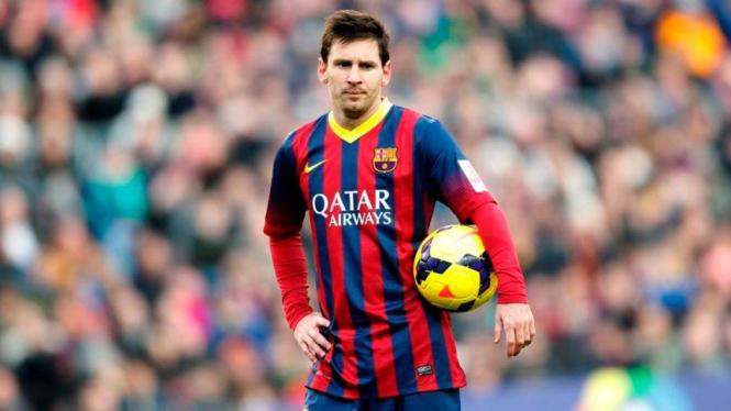 Pemain Barcelona, Lionel Messi, usai dikalahkan Valencia