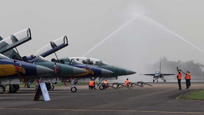 Jet tempur T-50i Golden Eagle di Halim Perdanakusuma, Jakarta Timur.