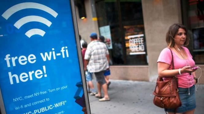 Tanda fasilitas Wi-Fi gratis.