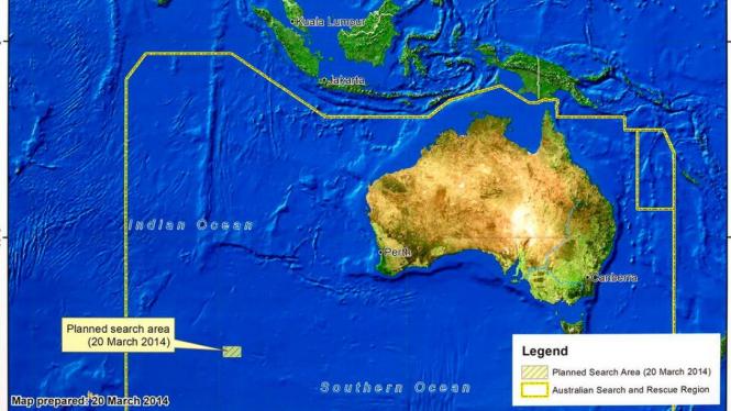 Peta penemuan dua benda yang diduga bagian dari pesawat MH370
