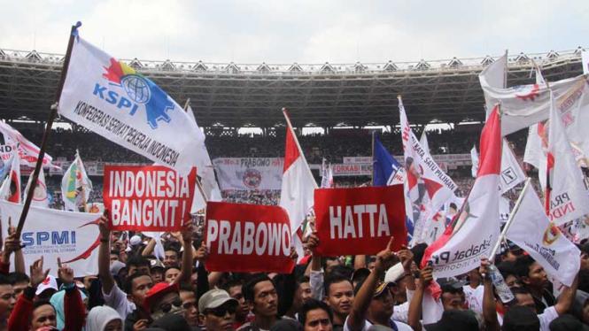 Kampanye Akbar Prabowo-Hatta di SUGBK yang dihadiri buruh di Pilpres 2014.