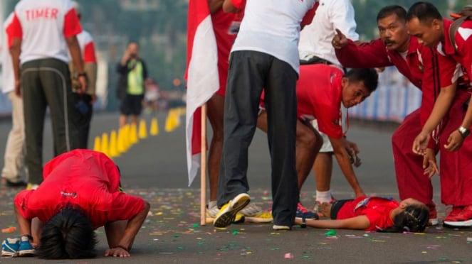 Peserta lomba maraton Independence Day Run di Jakarta 31 Agustus 2014